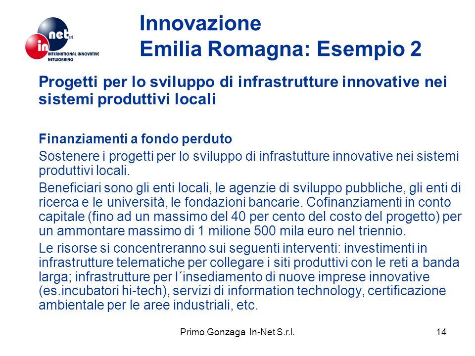 Primo Gonzaga In-Net S.r.l.14 Innovazione Emilia Romagna: Esempio 2 Progetti per lo sviluppo di infrastrutture innovative nei sistemi produttivi locali Finanziamenti a fondo perduto Sostenere i progetti per lo sviluppo di infrastutture innovative nei sistemi produttivi locali.