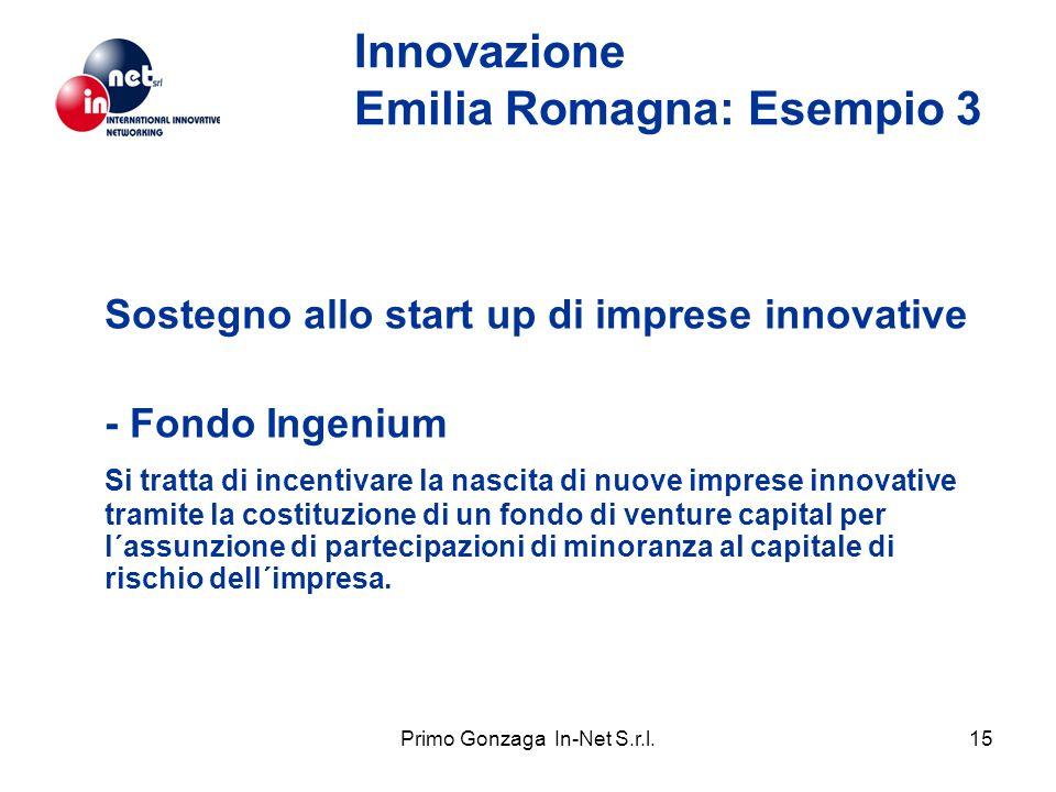 Primo Gonzaga In-Net S.r.l.15 Innovazione Emilia Romagna: Esempio 3 Sostegno allo start up di imprese innovative - Fondo Ingenium Si tratta di incenti