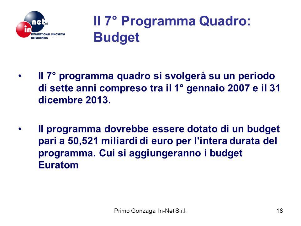 Primo Gonzaga In-Net S.r.l.18 Il 7° Programma Quadro: Budget Il 7° programma quadro si svolgerà su un periodo di sette anni compreso tra il 1° gennaio 2007 e il 31 dicembre 2013.