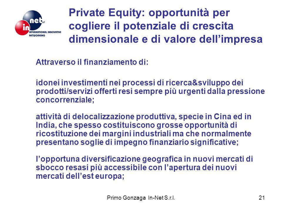 Primo Gonzaga In-Net S.r.l.21 Private Equity: opportunità per cogliere il potenziale di crescita dimensionale e di valore dellimpresa Attraverso il fi