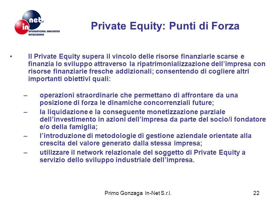 Primo Gonzaga In-Net S.r.l.22 Private Equity: Punti di Forza Il Private Equity supera il vincolo delle risorse finanziarie scarse e finanzia lo svilup