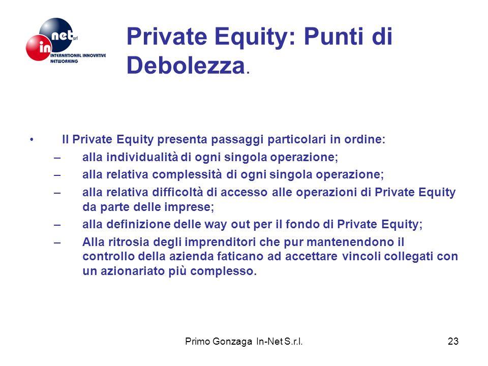 Primo Gonzaga In-Net S.r.l.23 Private Equity: Punti di Debolezza. Il Private Equity presenta passaggi particolari in ordine: –alla individualità di og