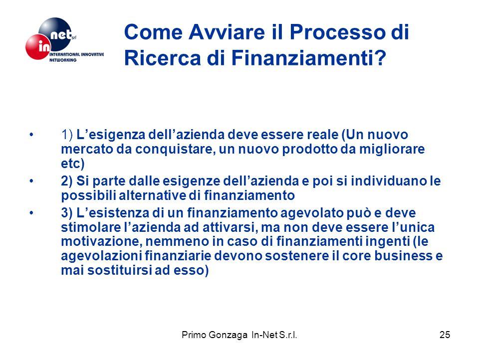Primo Gonzaga In-Net S.r.l.25 Come Avviare il Processo di Ricerca di Finanziamenti? 1) Lesigenza dellazienda deve essere reale (Un nuovo mercato da co