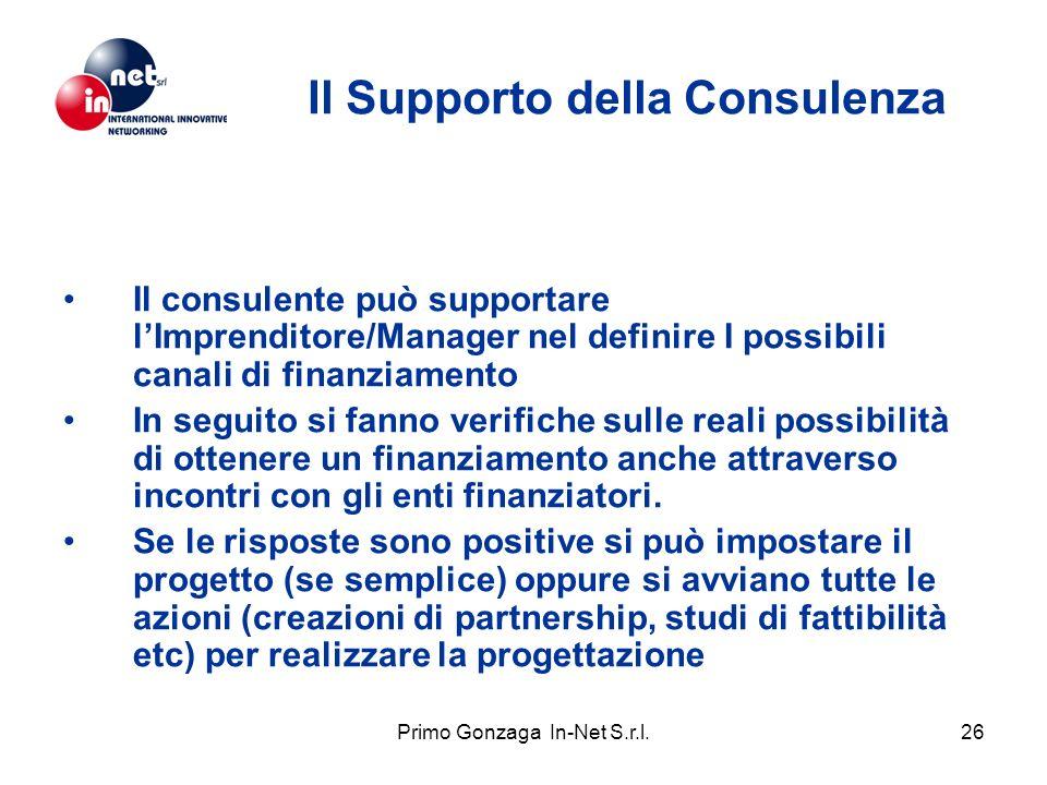 Primo Gonzaga In-Net S.r.l.26 Il Supporto della Consulenza Il consulente può supportare lImprenditore/Manager nel definire I possibili canali di finanziamento In seguito si fanno verifiche sulle reali possibilità di ottenere un finanziamento anche attraverso incontri con gli enti finanziatori.