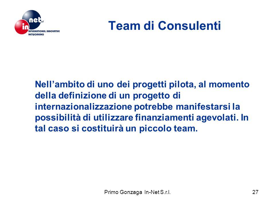 Primo Gonzaga In-Net S.r.l.27 Team di Consulenti Nellambito di uno dei progetti pilota, al momento della definizione di un progetto di internazionalizzazione potrebbe manifestarsi la possibilità di utilizzare finanziamenti agevolati.