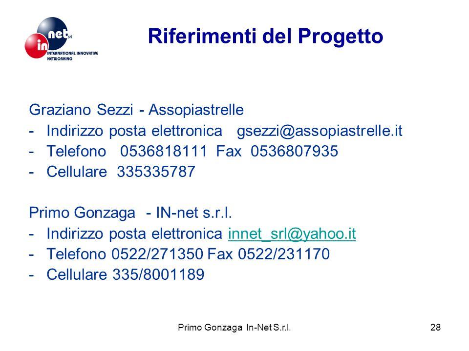 Primo Gonzaga In-Net S.r.l.28 Graziano Sezzi - Assopiastrelle -Indirizzo posta elettronica gsezzi@assopiastrelle.it -Telefono 0536818111 Fax 0536807935 -Cellulare 335335787 Primo Gonzaga - IN-net s.r.l.
