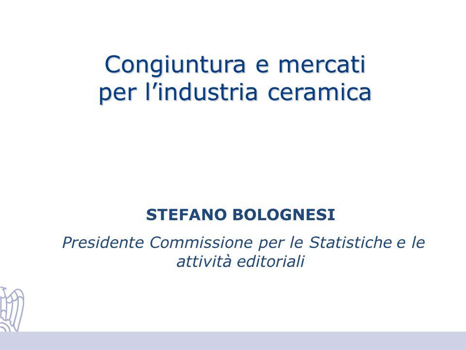 Congiuntura e mercati per lindustria ceramica STEFANO BOLOGNESI Presidente Commissione per le Statistiche e le attività editoriali