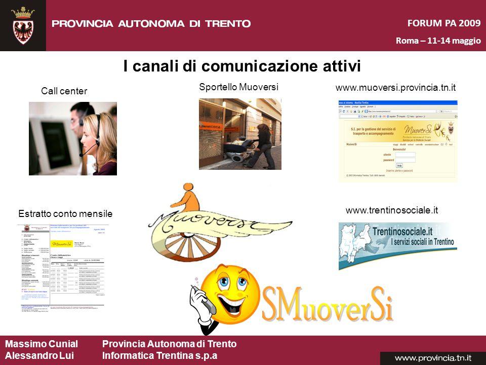 Massimo CunialProvincia Autonoma di Trento Alessandro Lui Informatica Trentina s.p.a FORUM PA 2009 Roma – 11-14 maggio I canali di comunicazione attiv