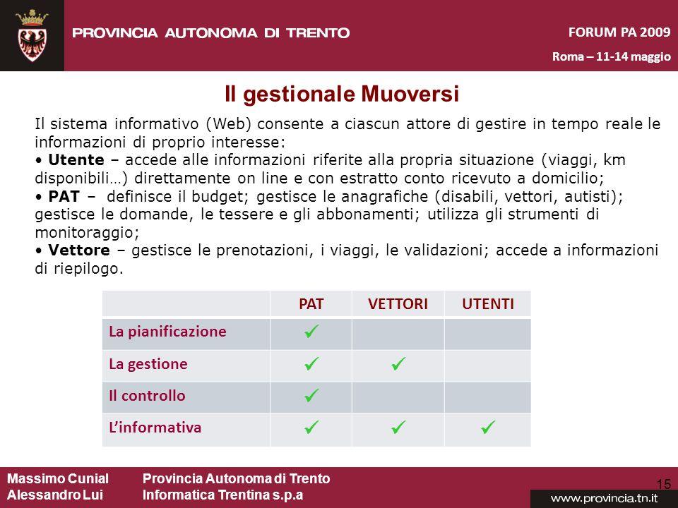 Massimo CunialProvincia Autonoma di Trento Alessandro Lui Informatica Trentina s.p.a FORUM PA 2009 Roma – 11-14 maggio 15 Il sistema informativo (Web)