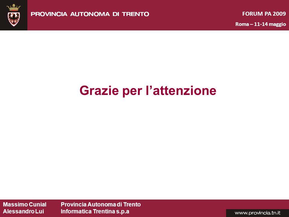 Massimo CunialProvincia Autonoma di Trento Alessandro Lui Informatica Trentina s.p.a Grazie per lattenzione FORUM PA 2009 Roma – 11-14 maggio