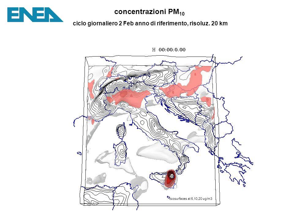 concentrazioni PM 10 ciclo giornaliero 2 Feb anno di riferimento, risoluz.