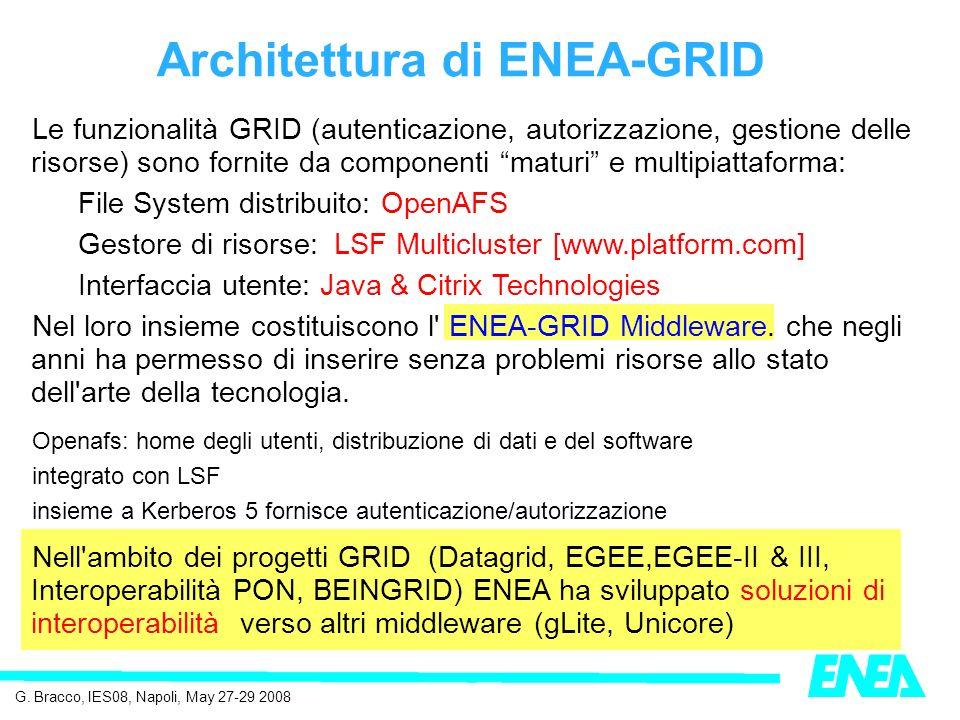 Le funzionalità GRID (autenticazione, autorizzazione, gestione delle risorse) sono fornite da componenti maturi e multipiattaforma: File System distribuito: OpenAFS Gestore di risorse: LSF Multicluster [www.platform.com] Interfaccia utente: Java & Citrix Technologies Nel loro insieme costituiscono l ENEA-GRID Middleware.