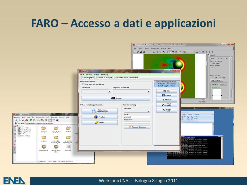 Workshop CNAF – Bologna 8 Luglio 2011 FARO – Accesso a dati e applicazioni