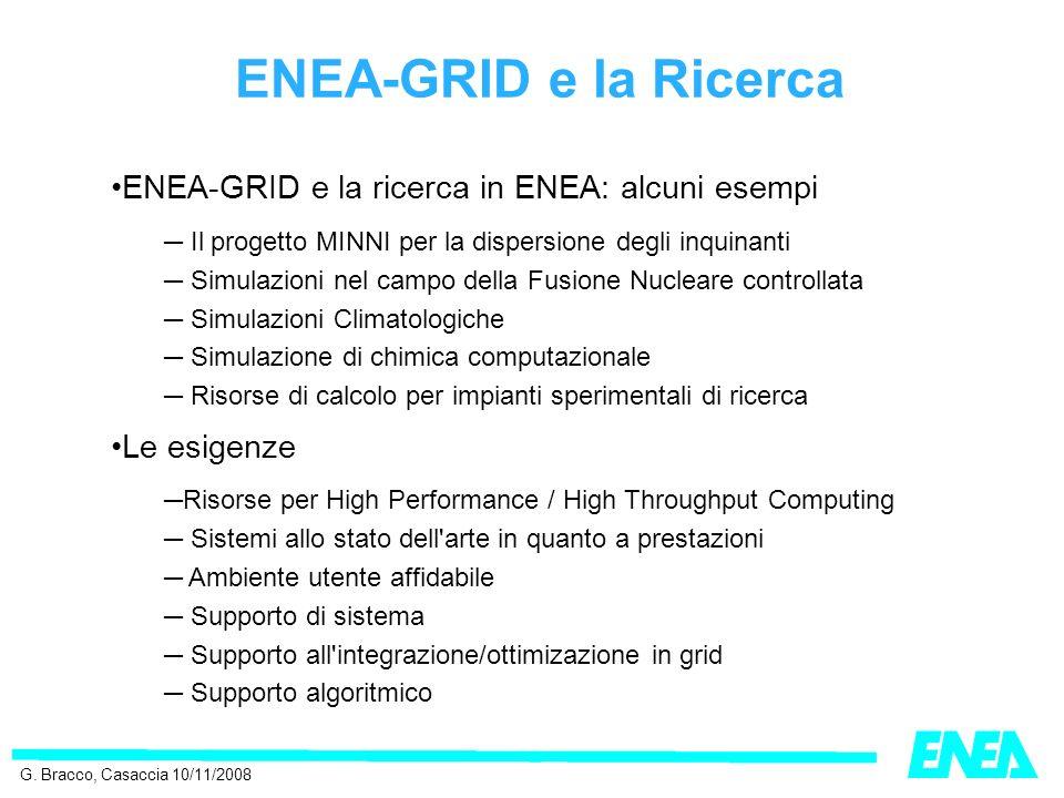 ENEA-GRID e la Ricerca ENEA-GRID e la ricerca in ENEA: alcuni esempi Il progetto MINNI per la dispersione degli inquinanti Simulazioni nel campo della Fusione Nucleare controllata Simulazioni Climatologiche Simulazione di chimica computazionale Risorse di calcolo per impianti sperimentali di ricerca Le esigenze Risorse per High Performance / High Throughput Computing Sistemi allo stato dell arte in quanto a prestazioni Ambiente utente affidabile Supporto di sistema Supporto all integrazione/ottimizazione in grid Supporto algoritmico G.