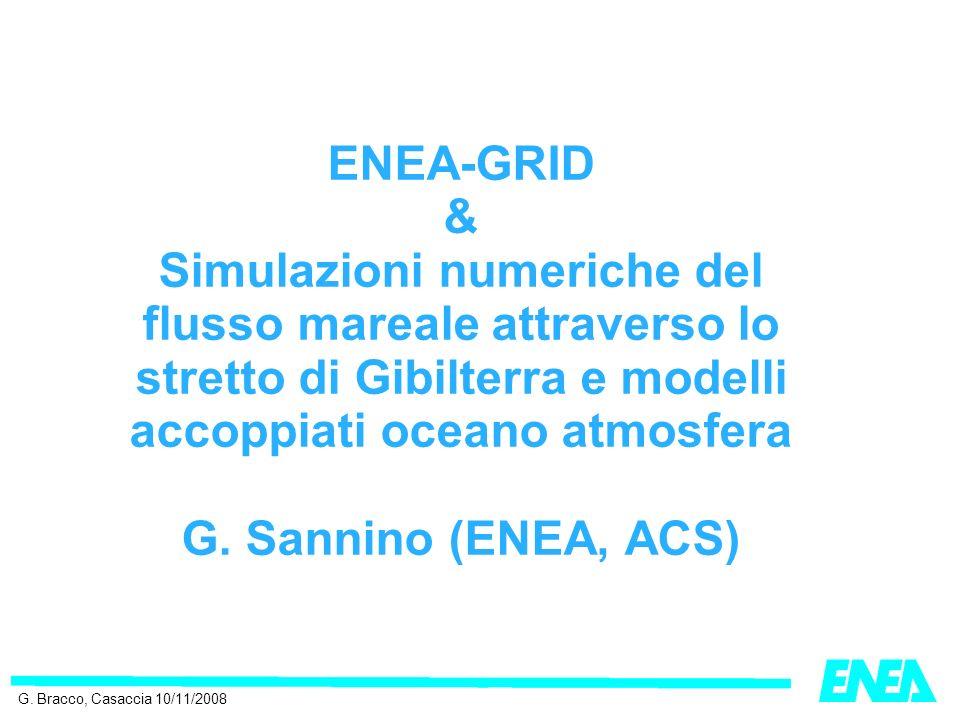 ENEA-GRID & Simulazioni numeriche del flusso mareale attraverso lo stretto di Gibilterra e modelli accoppiati oceano atmosfera G.