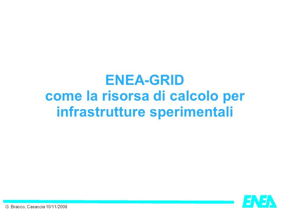 ENEA-GRID come la risorsa di calcolo per infrastrutture sperimentali G. Bracco, Casaccia 10/11/2008