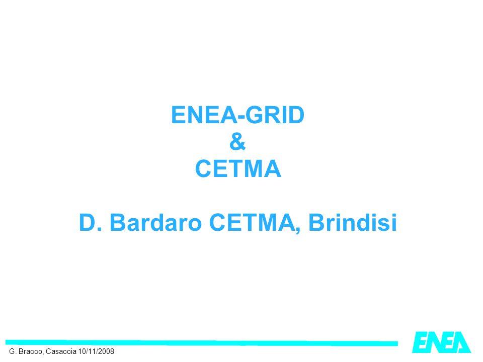 ENEA-GRID & CETMA D. Bardaro CETMA, Brindisi G. Bracco, Casaccia 10/11/2008