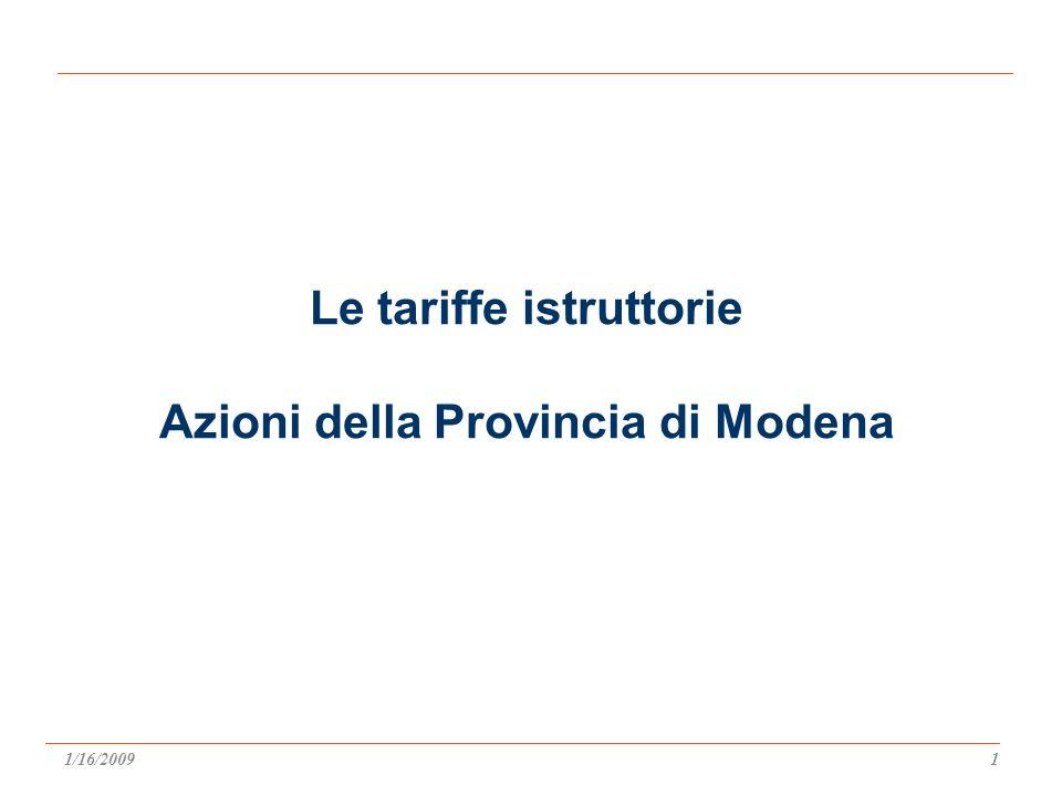 Le tariffe istruttorie Azioni della Provincia di Modena 1/16/20091