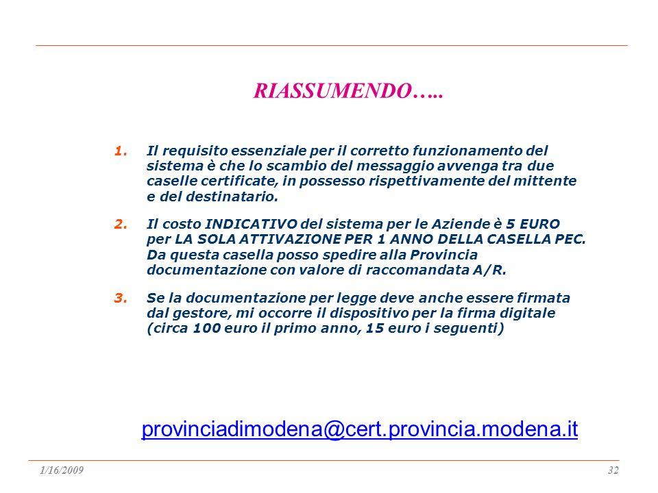 provinciadimodena@cert.provincia.modena.it RIASSUMENDO…..