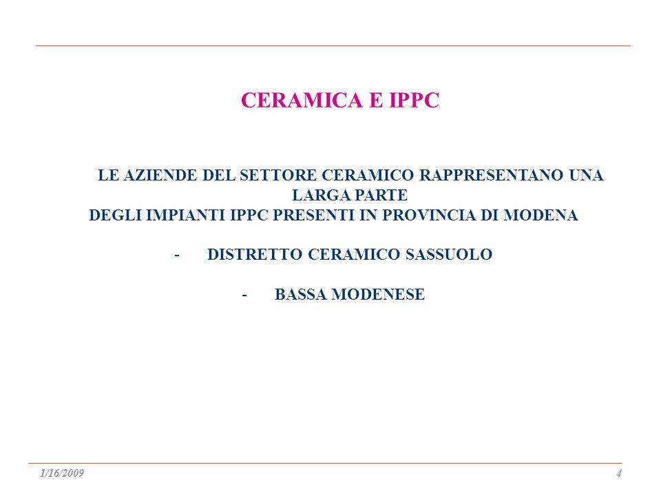 LE AZIENDE DEL SETTORE CERAMICO RAPPRESENTANO UNA LARGA PARTE DEGLI IMPIANTI IPPC PRESENTI IN PROVINCIA DI MODENA -DISTRETTO CERAMICO SASSUOLO -BASSA MODENESE CERAMICA E IPPC 1/16/20094