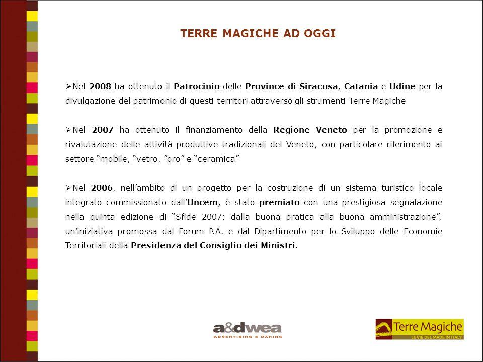TERRE MAGICHE AD OGGI Nel 2008 ha ottenuto il Patrocinio delle Province di Siracusa, Catania e Udine per la divulgazione del patrimonio di questi terr
