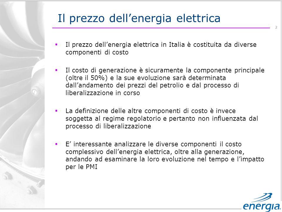 2 Il prezzo dellenergia elettrica Il prezzo dellenergia elettrica in Italia è costituita da diverse componenti di costo Il costo di generazione è sicuramente la componente principale (oltre il 50%) e la sue evoluzione sarà determinata dallandamento dei prezzi del petrolio e dal processo di liberalizzazione in corso La definizione delle altre componenti di costo è invece soggetta al regime regolatorio e pertanto non influenzata dal processo di liberalizzazione E interessante analizzare le diverse componenti il costo complessivo dellenergia elettrica, oltre alla generazione, andando ad esaminare la loro evoluzione nel tempo e limpatto per le PMI
