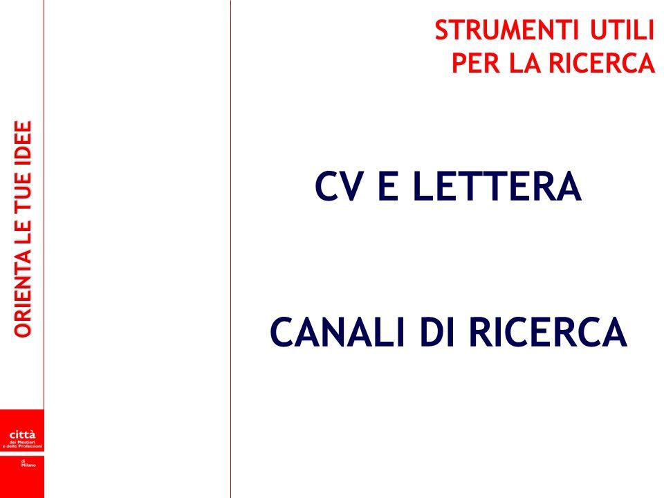 ORIENTA LE TUE IDEE CV E LETTERA CANALI DI RICERCA STRUMENTI UTILI PER LA RICERCA