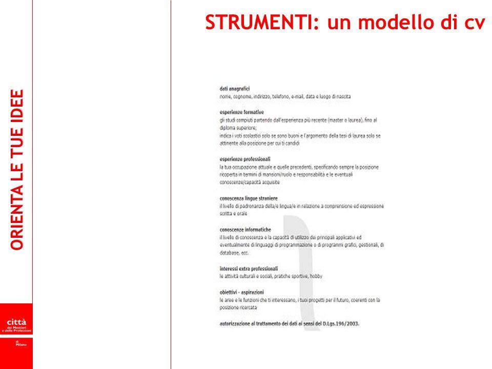 ORIENTA LE TUE IDEE STRUMENTI: un modello di cv
