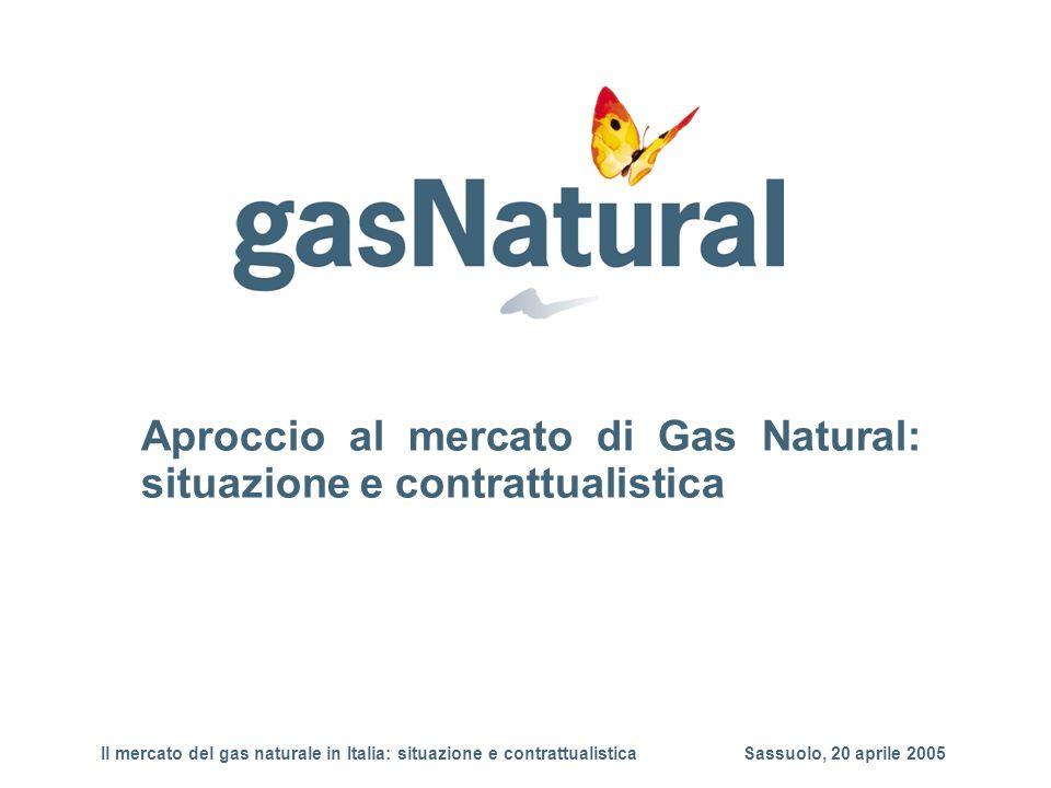 Aproccio al mercato di Gas Natural: situazione e contrattualistica Il mercato del gas naturale in Italia: situazione e contrattualistica Sassuolo, 20