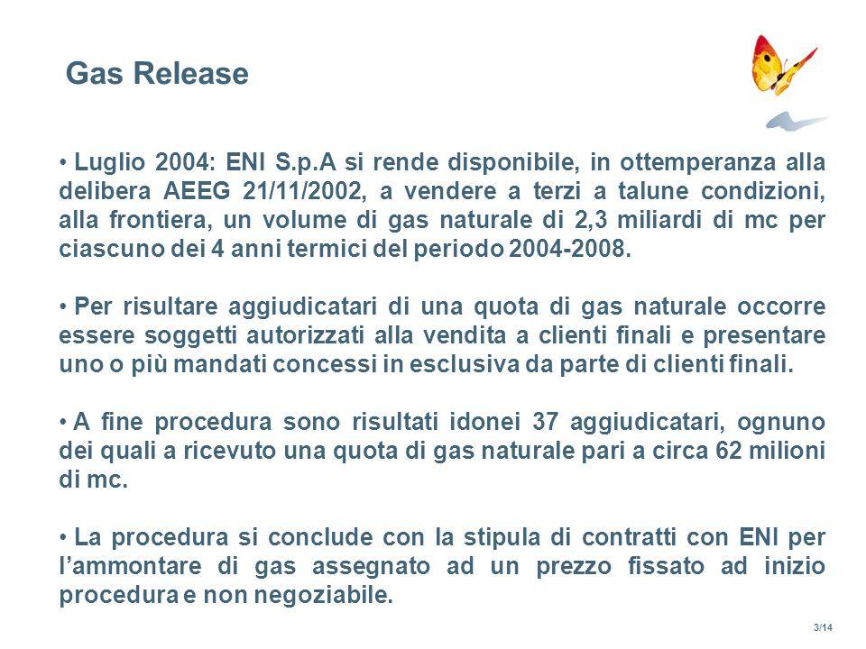 Gas Release Luglio 2004: ENI S.p.A si rende disponibile, in ottemperanza alla delibera AEEG 21/11/2002, a vendere a terzi a talune condizioni, alla fr