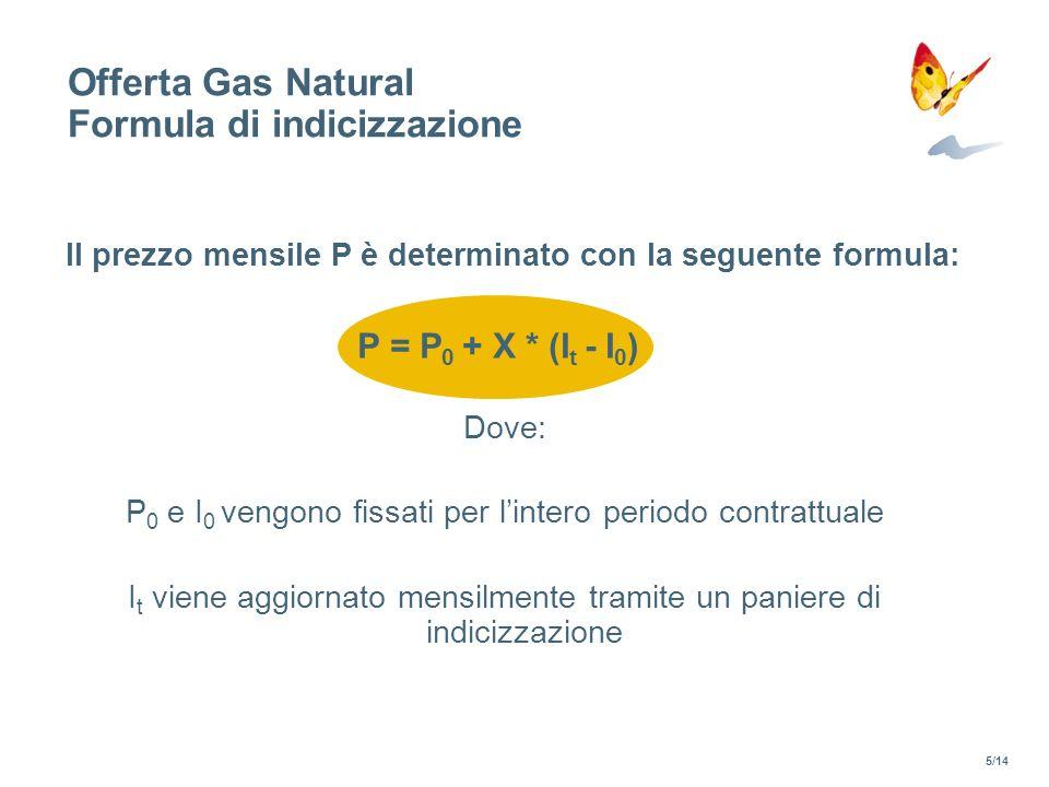 Offerta Gas Natural Formula di indicizzazione P = P 0 + X * (I t - I 0 ) Dove: P 0 e I 0 vengono fissati per lintero periodo contrattuale I t viene ag
