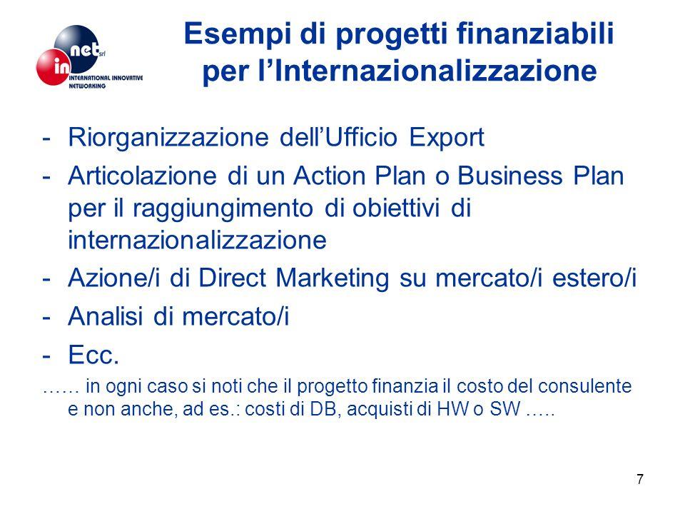 7 Esempi di progetti finanziabili per lInternazionalizzazione -Riorganizzazione dellUfficio Export -Articolazione di un Action Plan o Business Plan pe