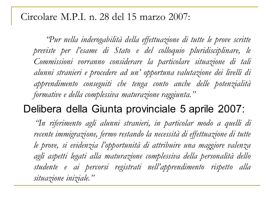 Circolare M.P.I. n.