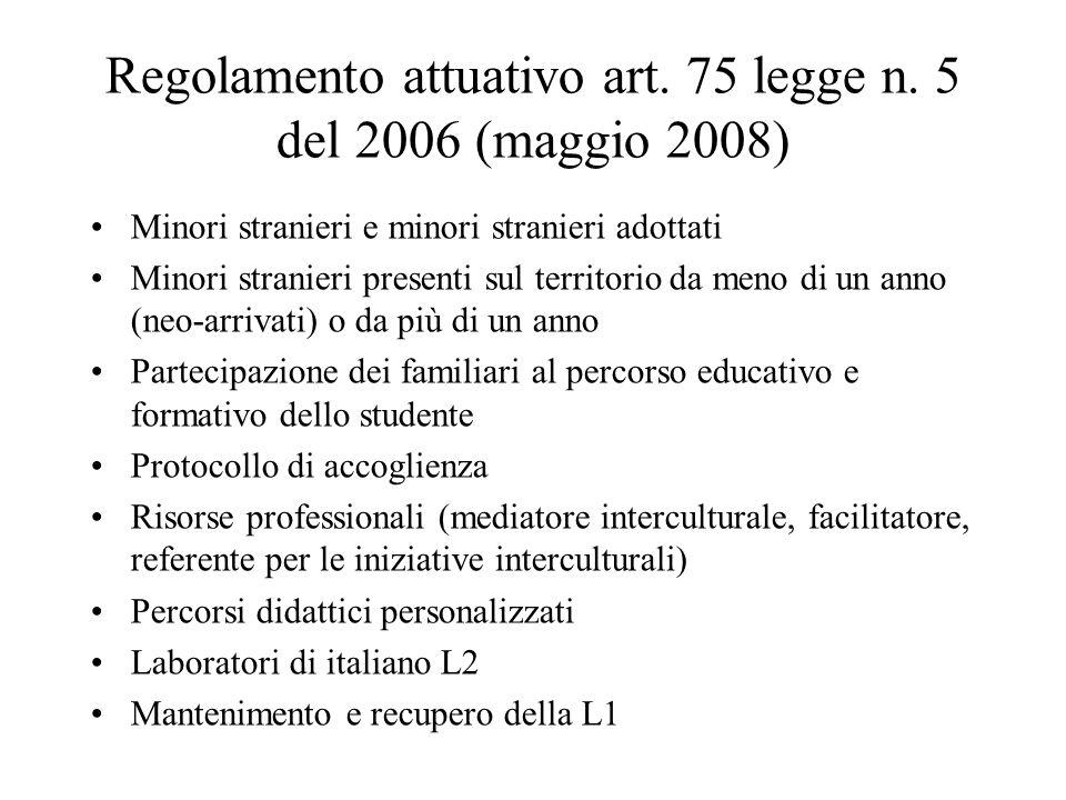 Regolamento attuativo art. 75 legge n.