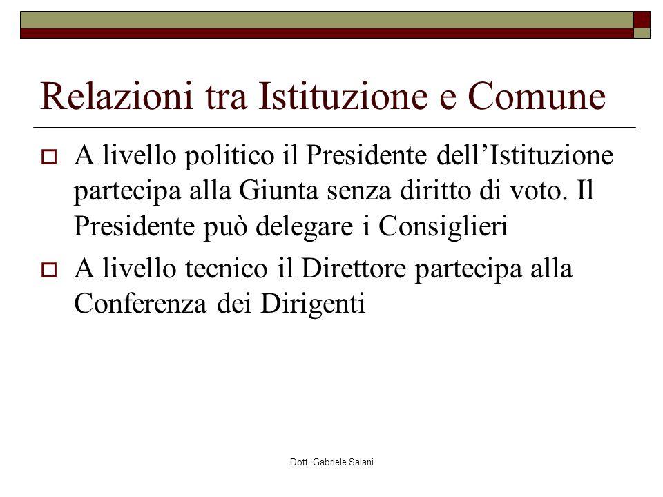 Dott. Gabriele Salani Relazioni tra Istituzione e Comune A livello politico il Presidente dellIstituzione partecipa alla Giunta senza diritto di voto.