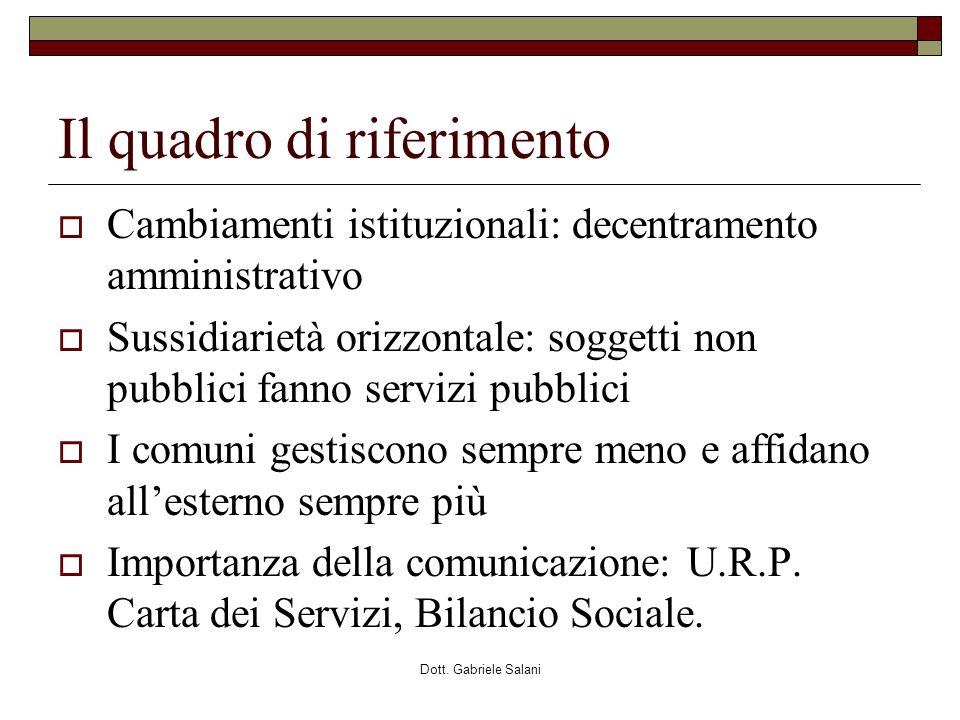 Dott. Gabriele Salani Il quadro di riferimento Cambiamenti istituzionali: decentramento amministrativo Sussidiarietà orizzontale: soggetti non pubblic