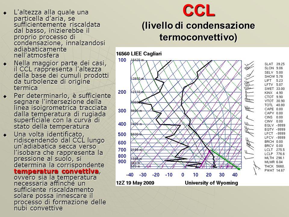 CCL (livello di condensazione termoconvettivo) L'altezza alla quale una particella daria, se sufficientemente riscaldata dal basso, inizierebbe il pro