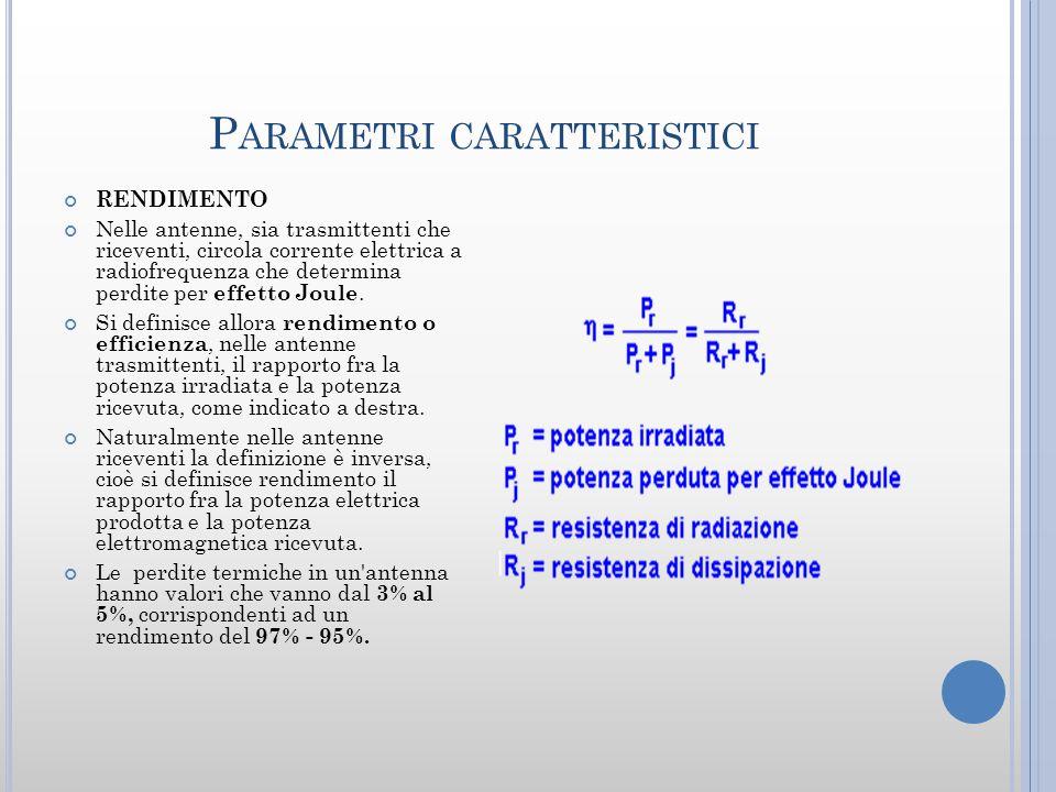 P ARAMETRI CARATTERISTICI RENDIMENTO Nelle antenne, sia trasmittenti che riceventi, circola corrente elettrica a radiofrequenza che determina perdite per effetto Joule.