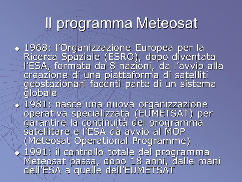 Il programma Meteosat 1968: lOrganizzazione Europea per la Ricerca Spaziale (ESRO), dopo diventata lESA, formata da 8 nazioni, da lavvio alla creazion