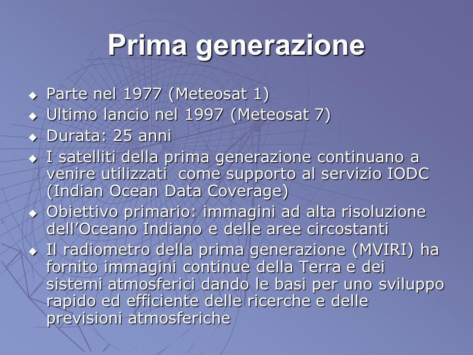 Prima generazione Parte nel 1977 (Meteosat 1) Parte nel 1977 (Meteosat 1) Ultimo lancio nel 1997 (Meteosat 7) Ultimo lancio nel 1997 (Meteosat 7) Dura