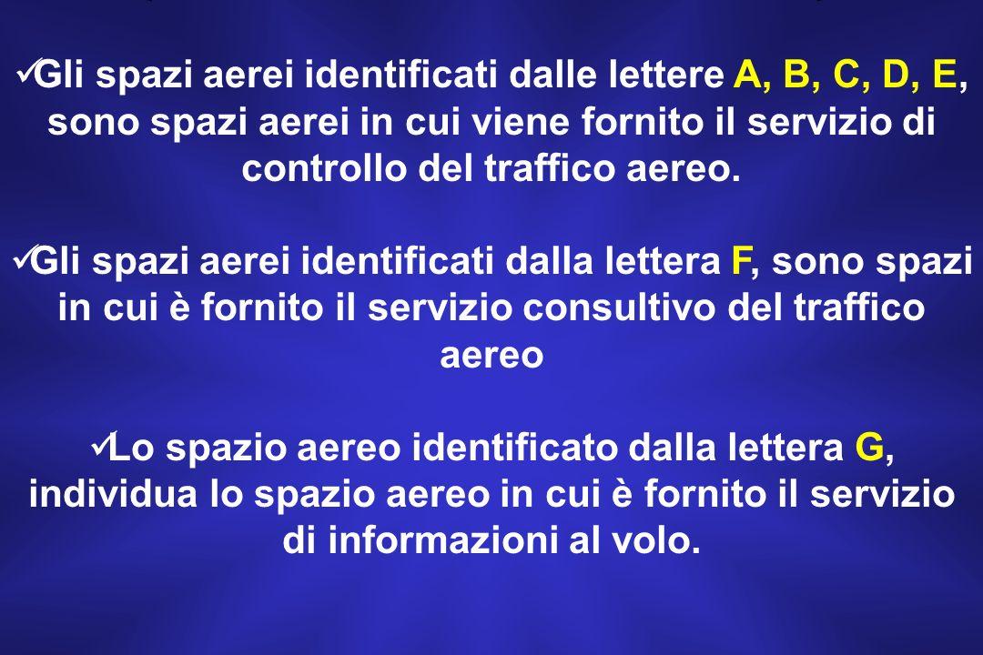 Le classi di spazio aereo sono contraddistinte dalle lettere che vanno dalla A alla G A, B, C, D, E, F, G.