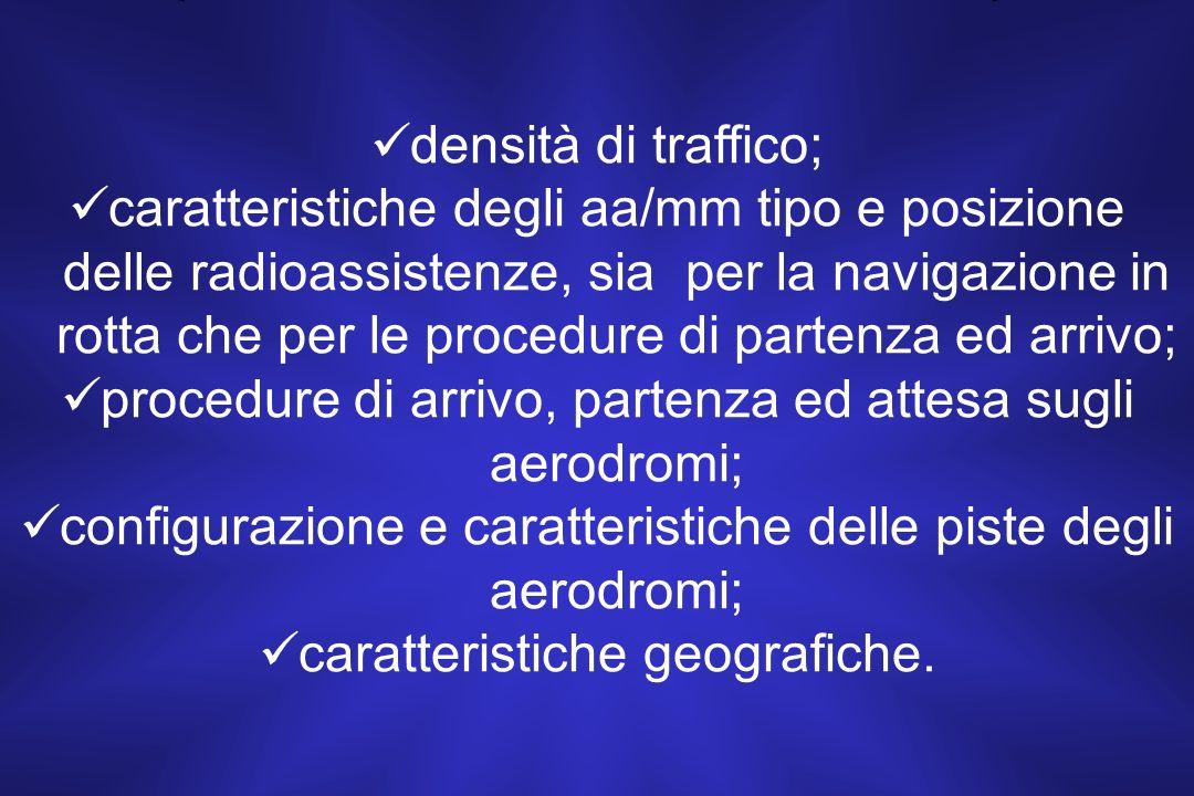 densità di traffico; caratteristiche degli aa/mm tipo e posizione delle radioassistenze, sia per la navigazione in rotta che per le procedure di partenza ed arrivo; procedure di arrivo, partenza ed attesa sugli aerodromi; configurazione e caratteristiche delle piste degli aerodromi; caratteristiche geografiche.