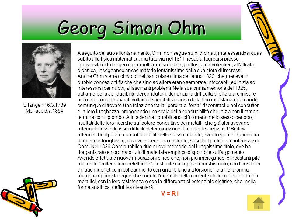 Georg Simon Ohm Erlangen 16.3.1789 Monaco 6.7.1854 A seguito del suo allontanamento, Ohm non segue studi ordinati, interessandosi quasi subito alla fi