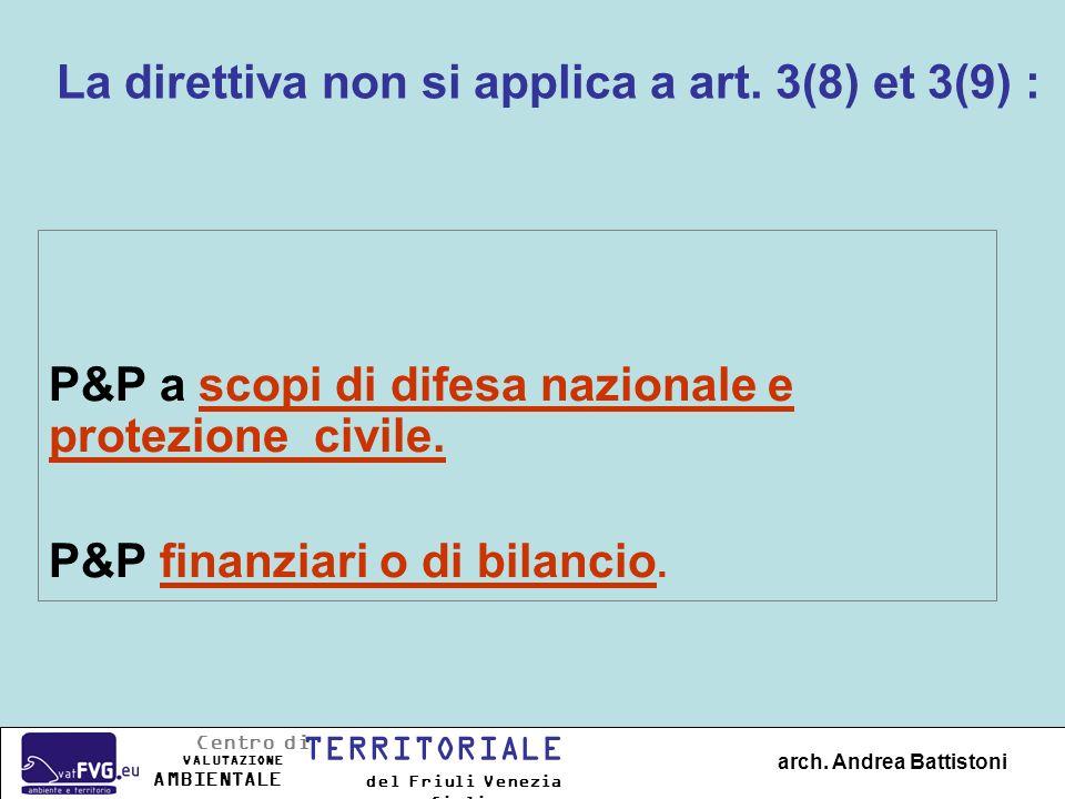 P&P a scopi di difesa nazionale e protezione civile. P&P finanziari o di bilancio. La direttiva non si applica a art. 3(8) et 3(9) : arch. Andrea Batt