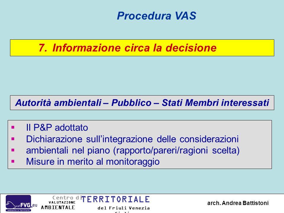 7.Informazione circa la decisione Autorità ambientali – Pubblico – Stati Membri interessati Procedura VAS Il P&P adottato Dichiarazione sullintegrazio