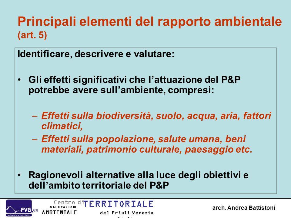 Principali elementi del rapporto ambientale (art. 5) Identificare, descrivere e valutare: Gli effetti significativi che lattuazione del P&P potrebbe a