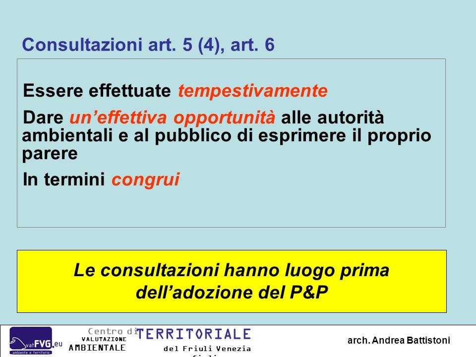 Consultazioni art. 5 (4), art. 6 Essere effettuate tempestivamente Dare uneffettiva opportunità alle autorità ambientali e al pubblico di esprimere il