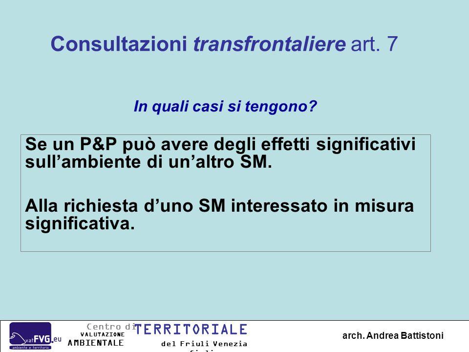Consultazioni transfrontaliere art. 7 Se un P&P può avere degli effetti significativi sullambiente di unaltro SM. Alla richiesta duno SM interessato i