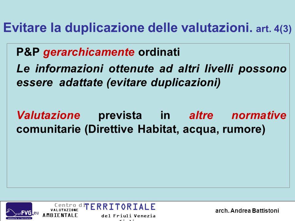 Evitare la duplicazione delle valutazioni. art. 4(3) P&P gerarchicamente ordinati Le informazioni ottenute ad altri livelli possono essere adattate (e