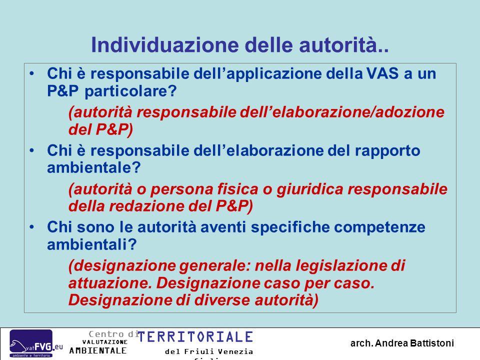 Individuazione delle autorità.. Chi è responsabile dellapplicazione della VAS a un P&P particolare? (autorità responsabile dellelaborazione/adozione d